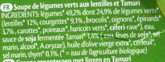 Soupe de légumes verts aux lentilles et Tamari - Ingrédients - fr