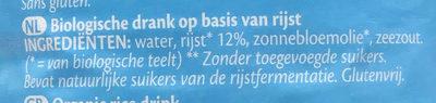 Rice drink natural - Ingrediënten - nl
