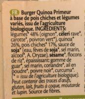 Vegi Grills Quinoa Pois Chiches Primeur 2X90G - Ingrédients