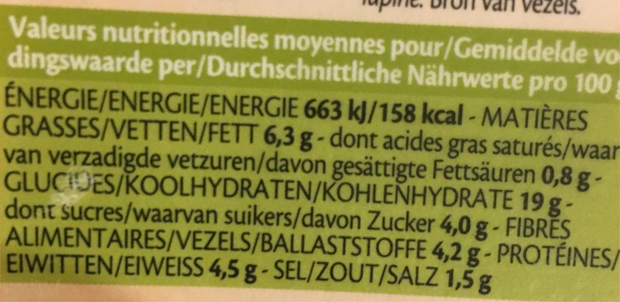 Vegi Grills Quinoa Pois Chiches Primeur 2X90G - Informations nutritionnelles