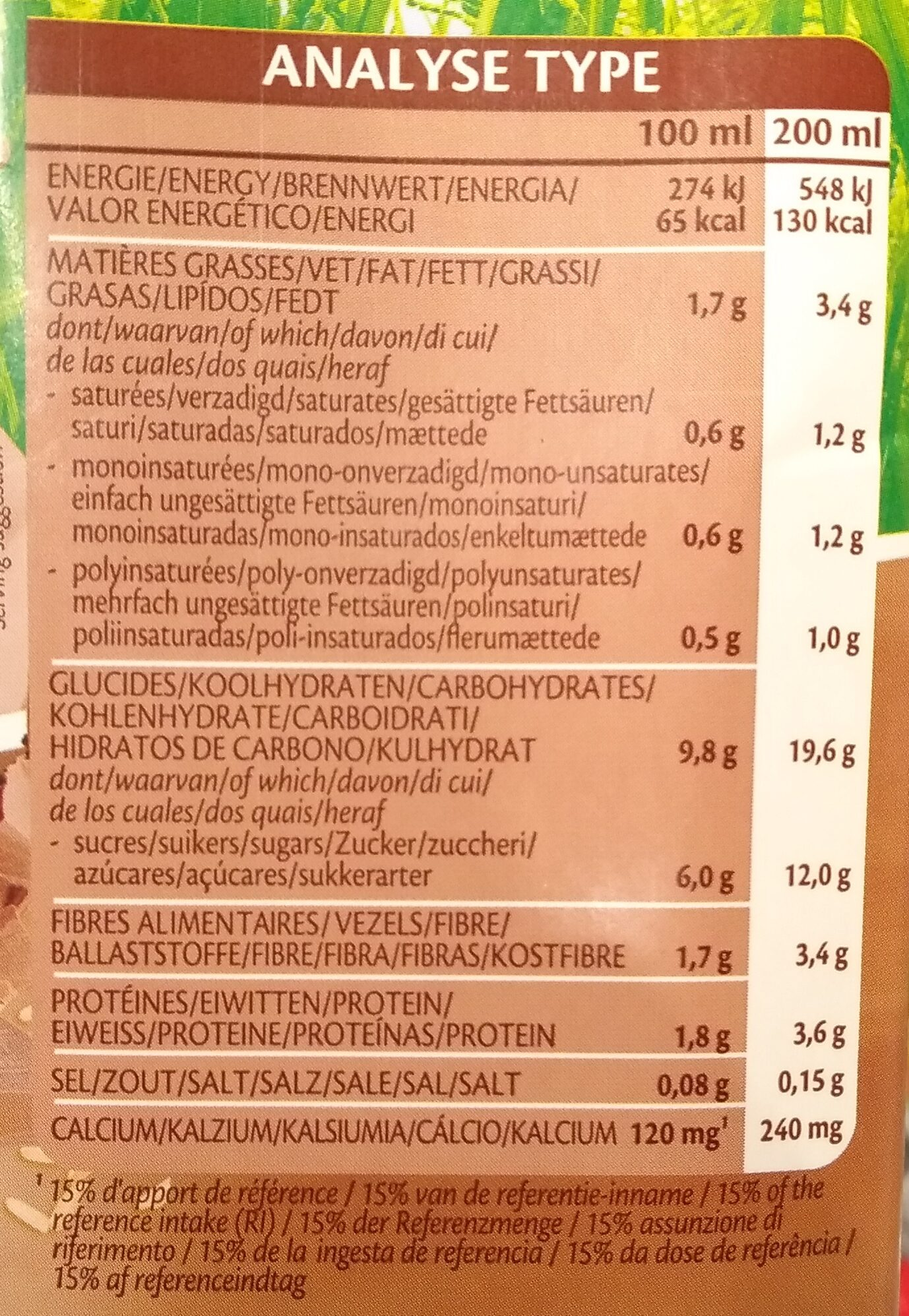 Rice drink choco à base de riz au soja et cacao - Nutrition facts - fr