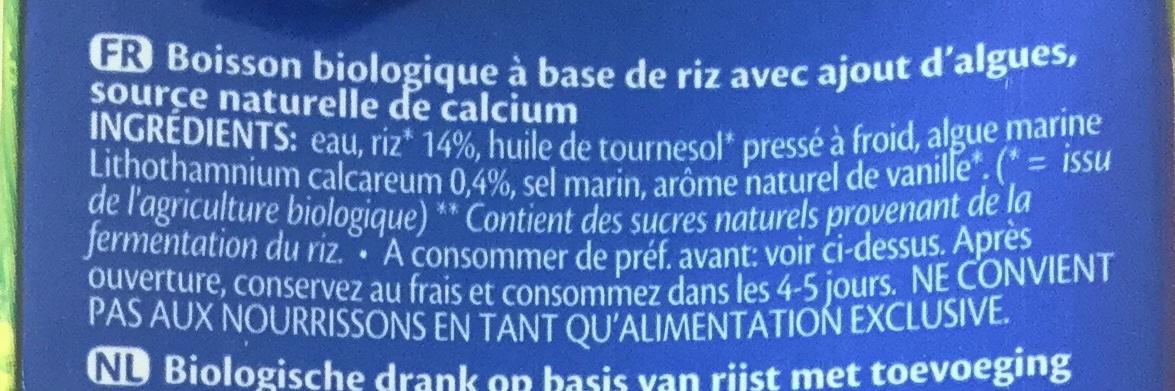 Rice drink Calcium - Ingredients