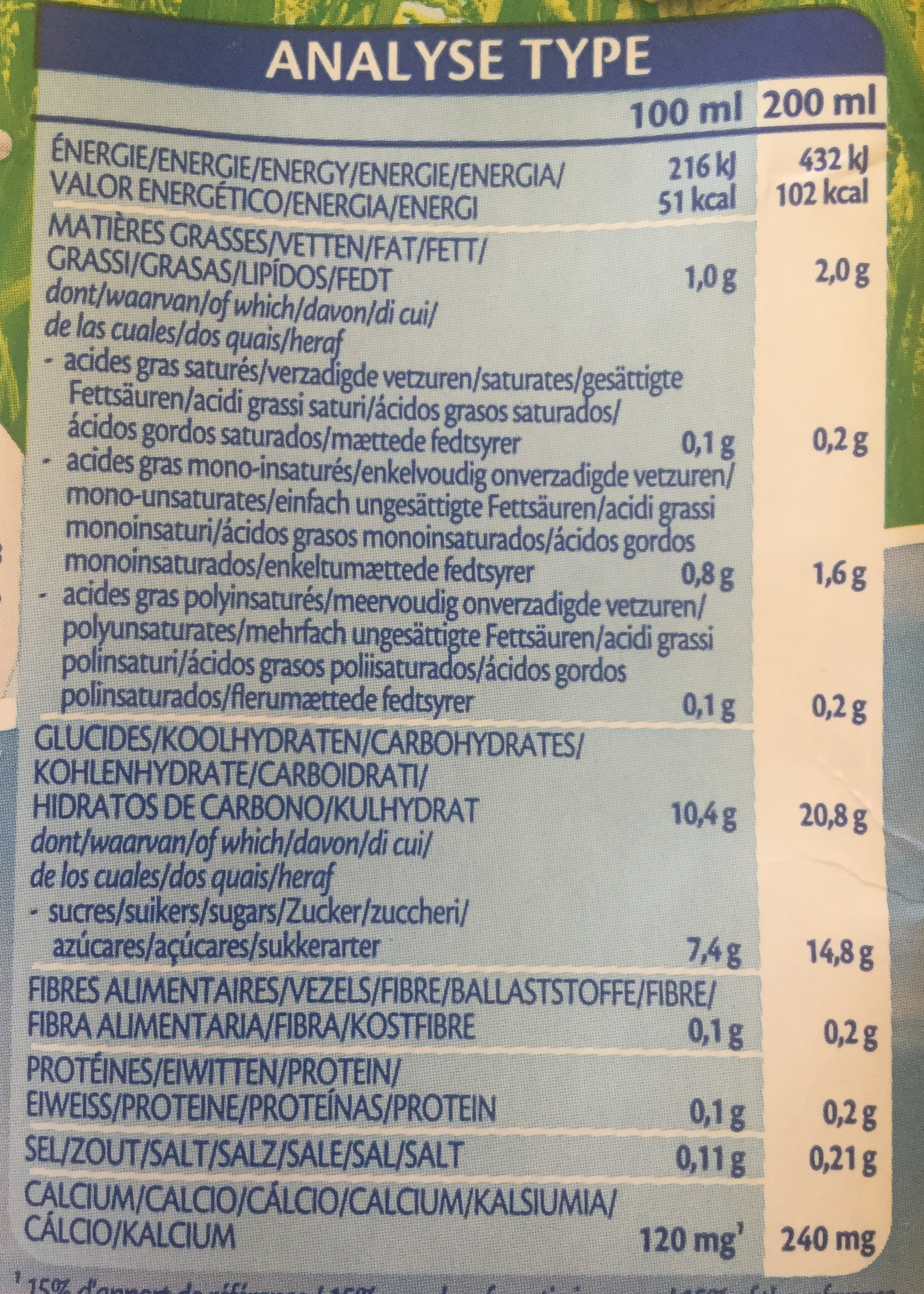Rice drink Calcium - Nutrition facts