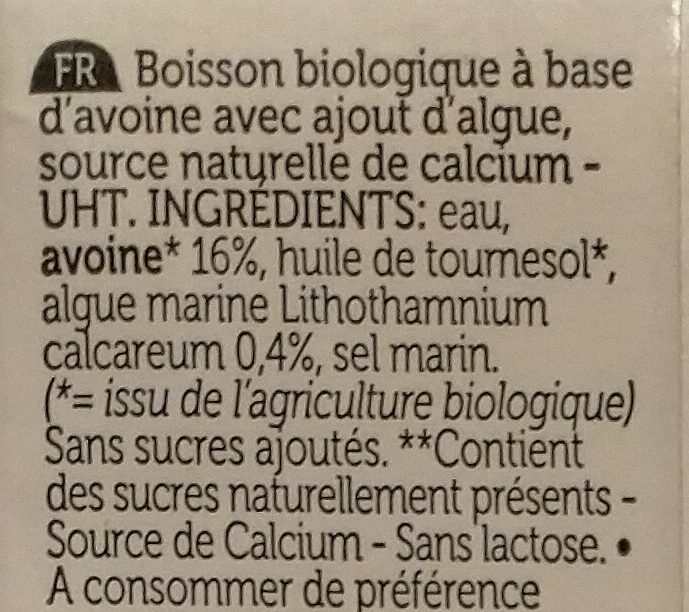 Oat drink calcium - Ingrédients - fr