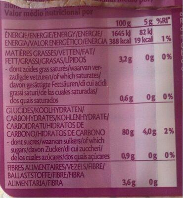 Galettes de riz fines au quinoa - Nutrition facts - fr