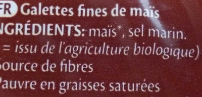 Corn maïs - Ingredients