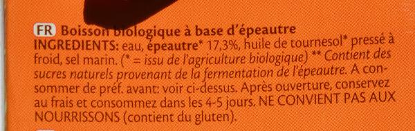 Spelt épeautre drink natural - Ingredients - fr