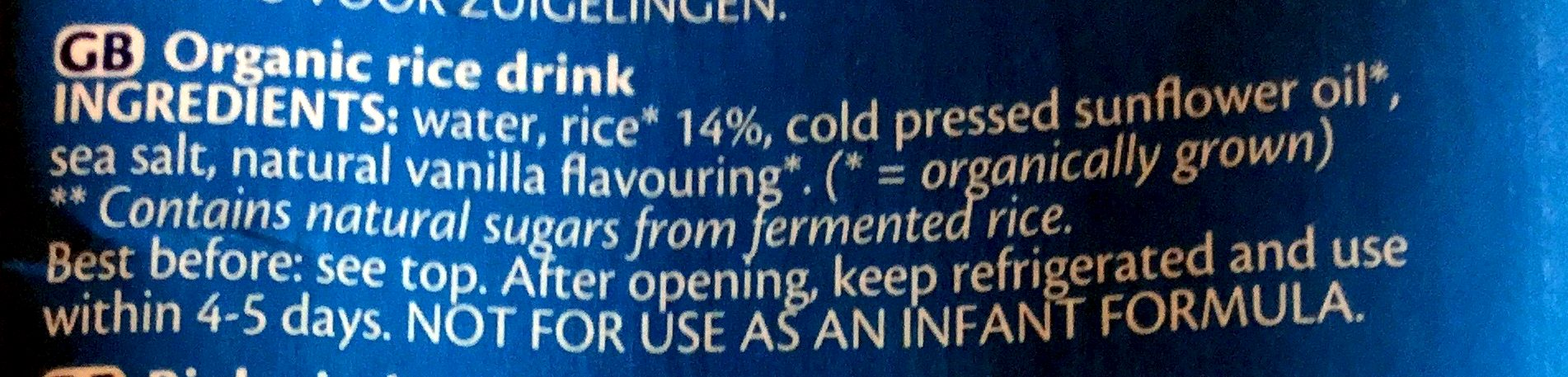 Rice drink original - Ingredients