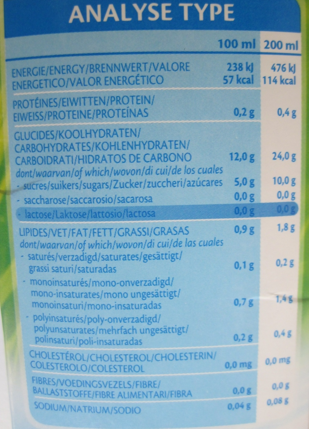 Rice drink original - Nutrition facts