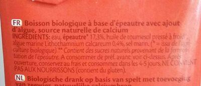 Spelt épeautre drink - Ingrédients - fr