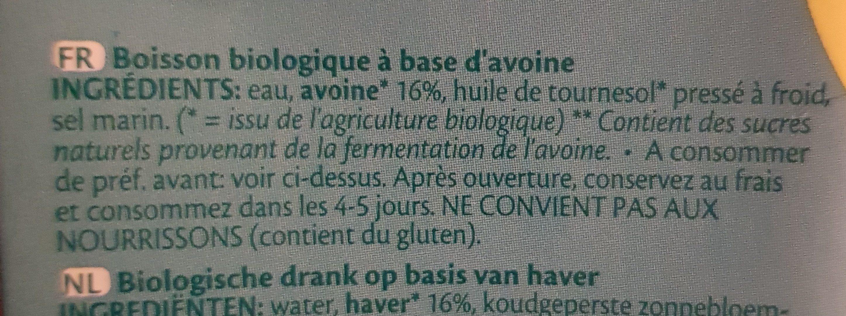 Boissons Végétales - Ingrédients - fr