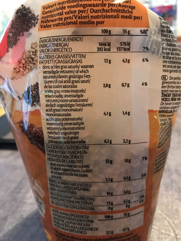 Porridge express OMEGA 3 - Informations nutritionnelles - fr