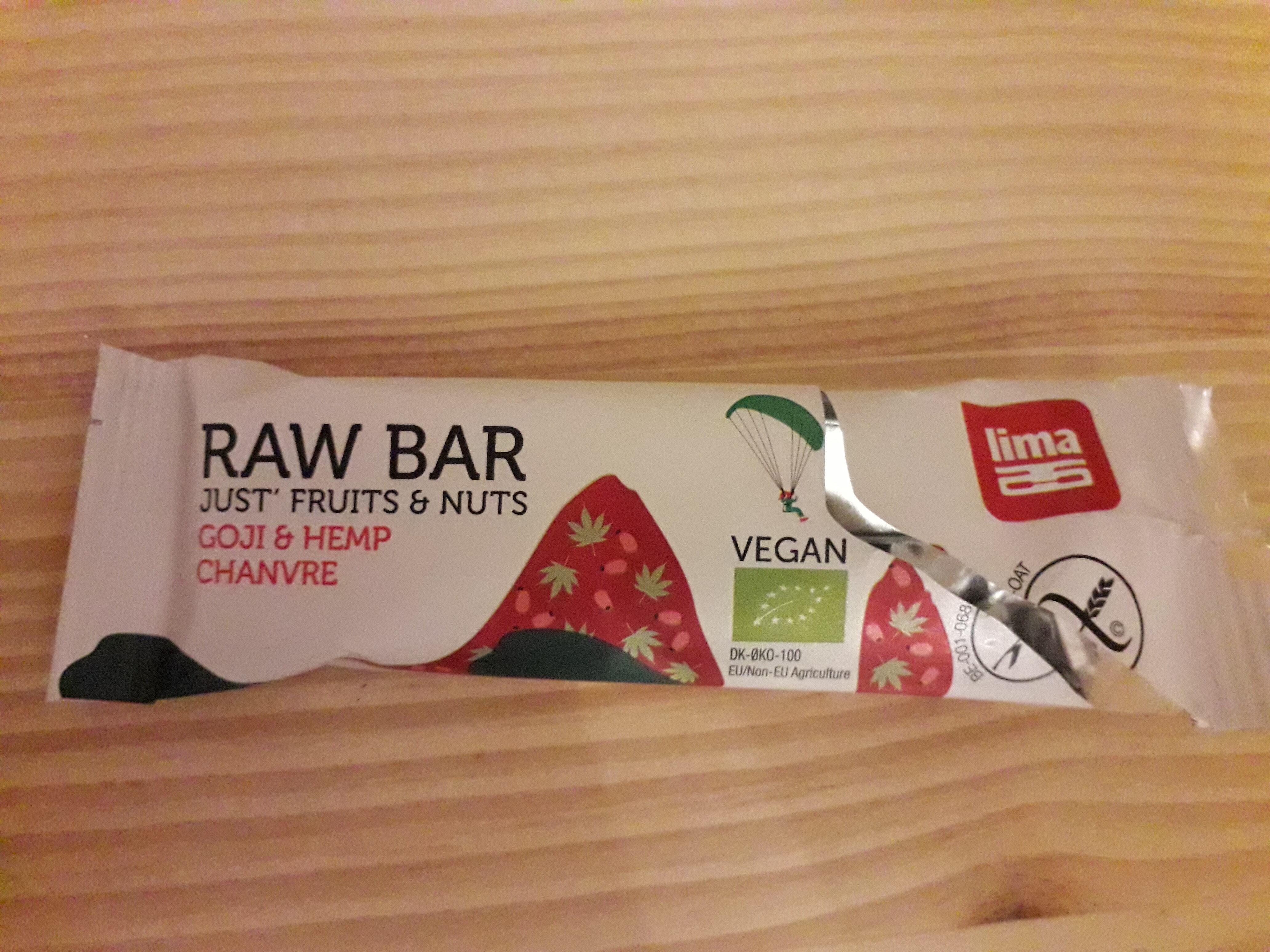 raw bar just' fruits & nuts - goji & hemp chanvre - Produit