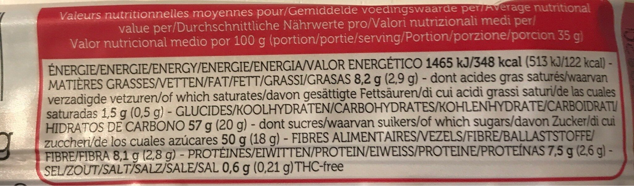 Raw Ba Goji & Hemp Chanvre - Informations nutritionnelles - fr