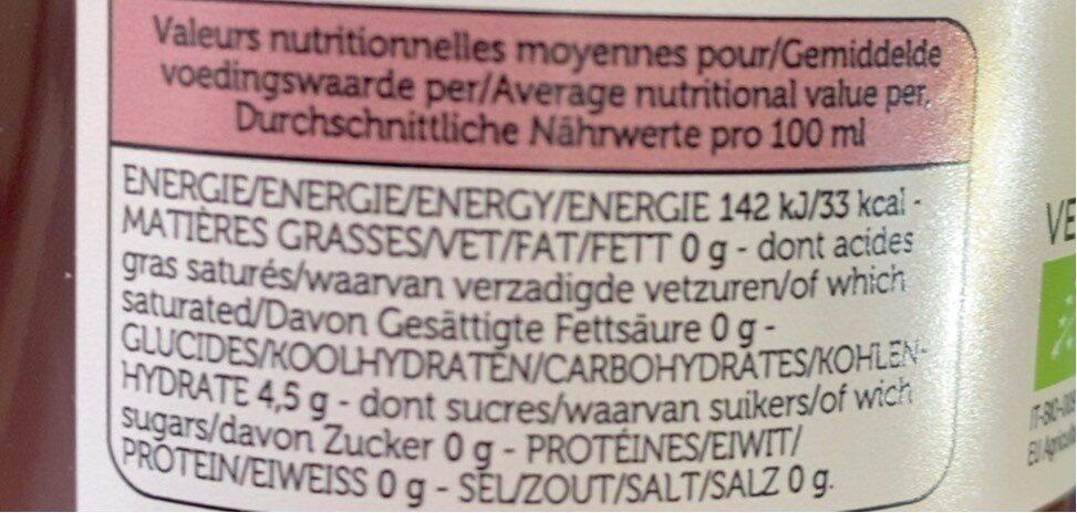 Drinking vinegar grenade - Nutrition facts - fr