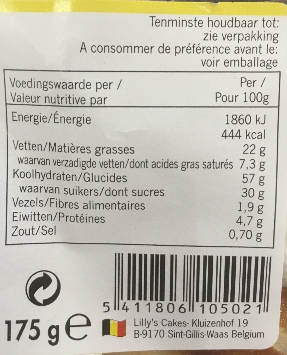 Frangipanes - Nutrition facts