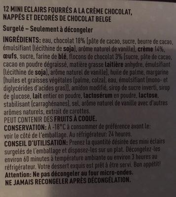 12 Mini éclairs Pâtissiers, Au Chocolat, 200 Grammes, Marque Poppies - Ingrédients - fr