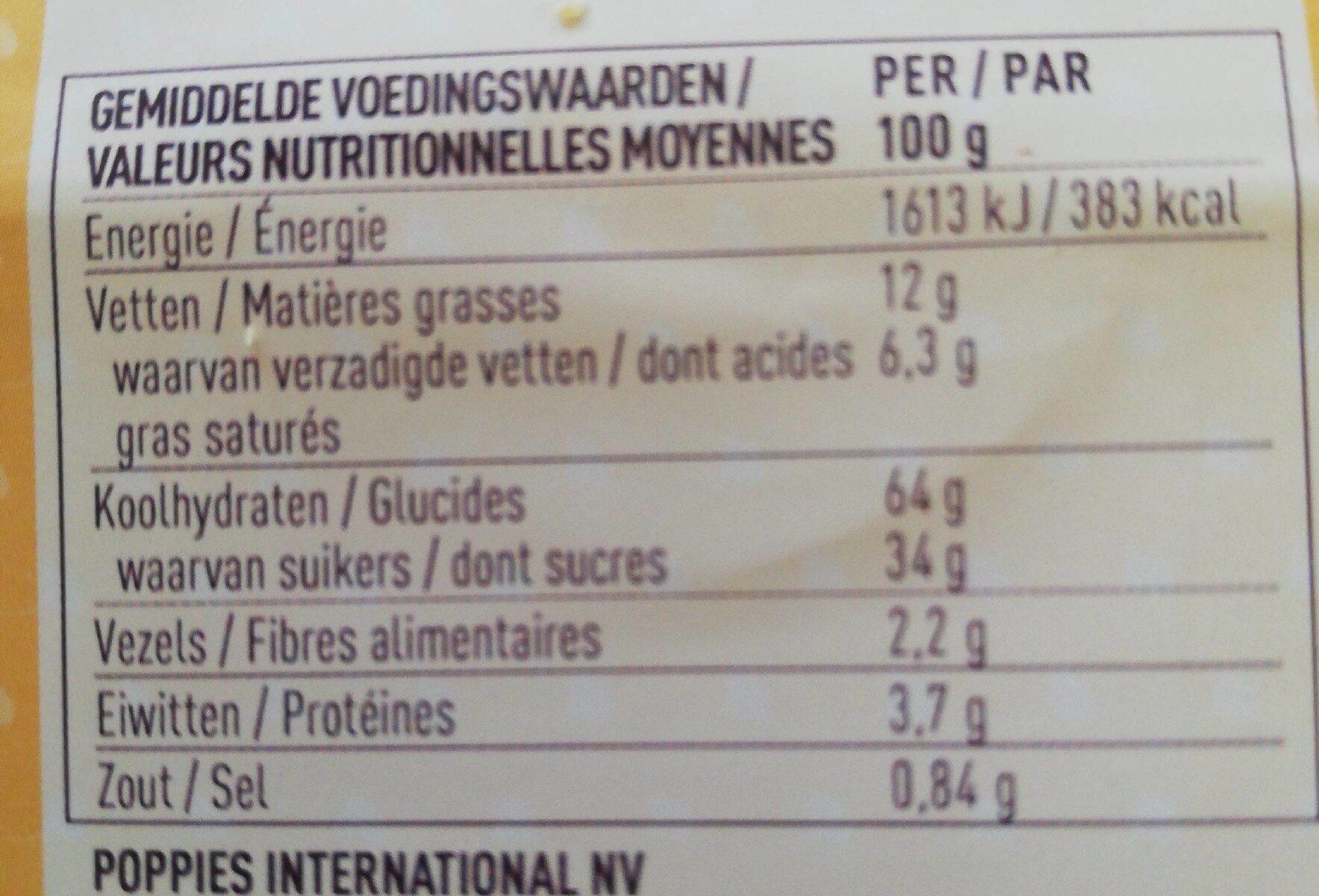 Poppies Apri'co 15X175G 8 Pièces - Informations nutritionnelles - fr