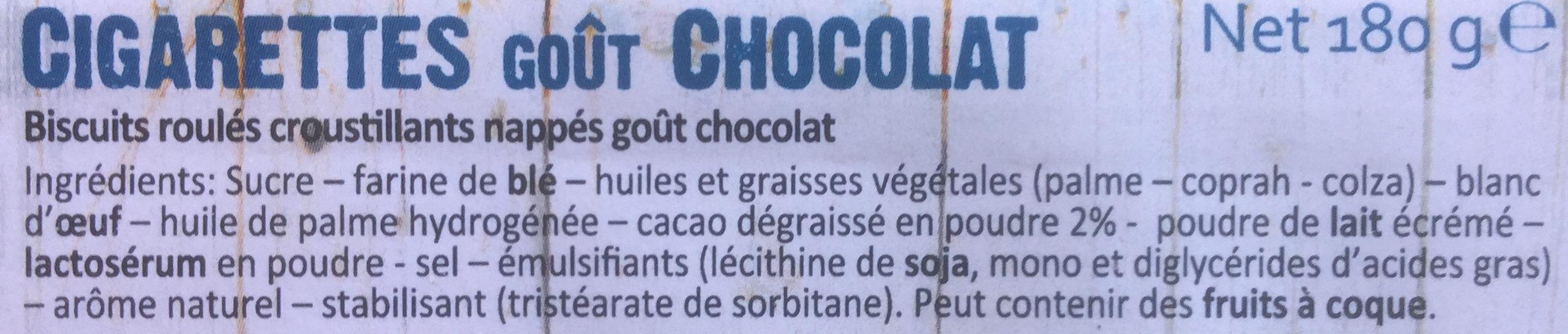 Cigarettes goût chocolat - Ingrédients - fr