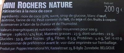 Biscuits de Pauline rochers - Ingrediënten - fr