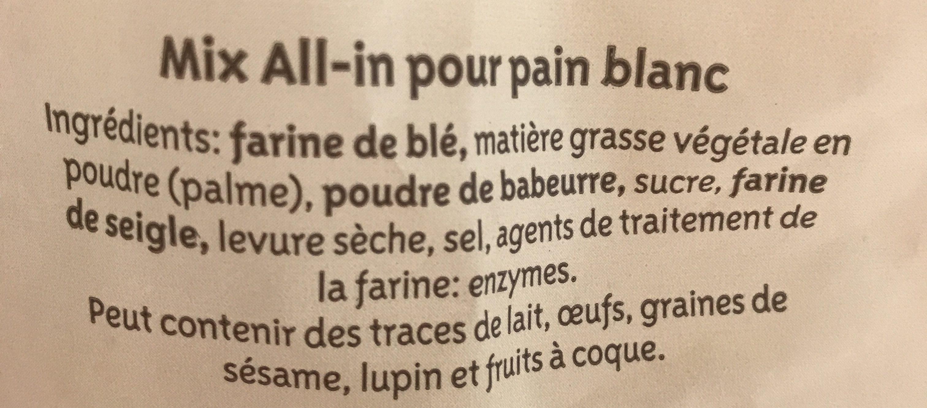 Pain blanc - Ingredients