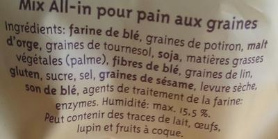 Préparation pour Pain aux Graines - Ingredients
