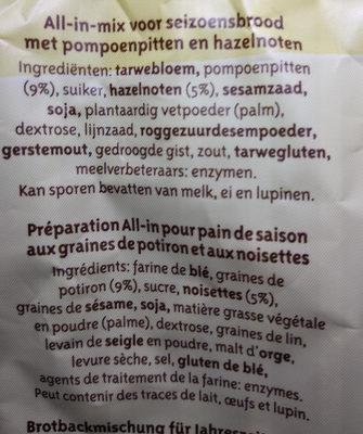 Pain de saison - Ingredients