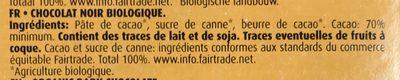 Organic Dark Chocolate 70 % - Ingrédients - fr