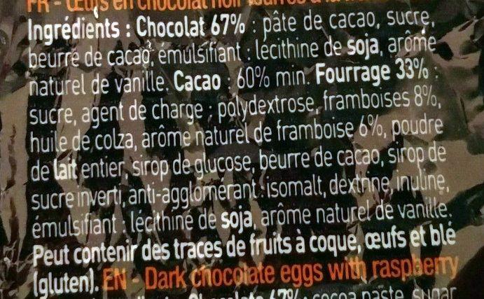 Les Œufs Noir Framboise - Ingrédients - fr