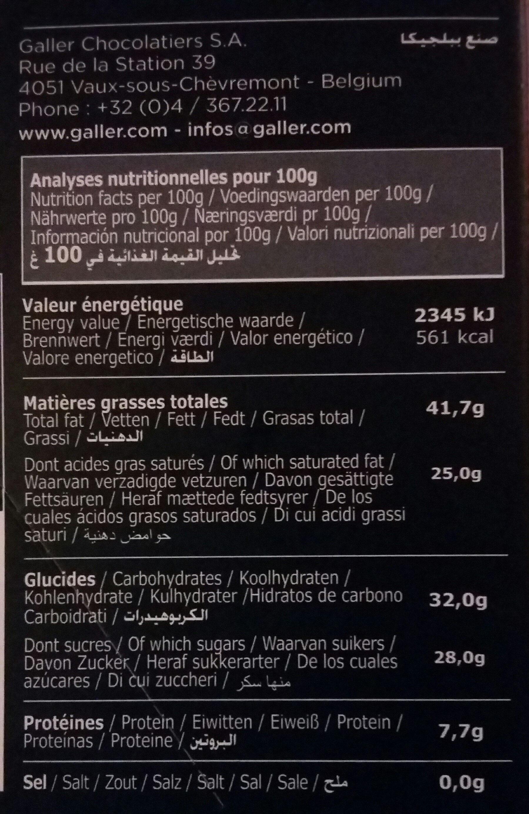 Galler noir 70% Intense - Voedingswaarden