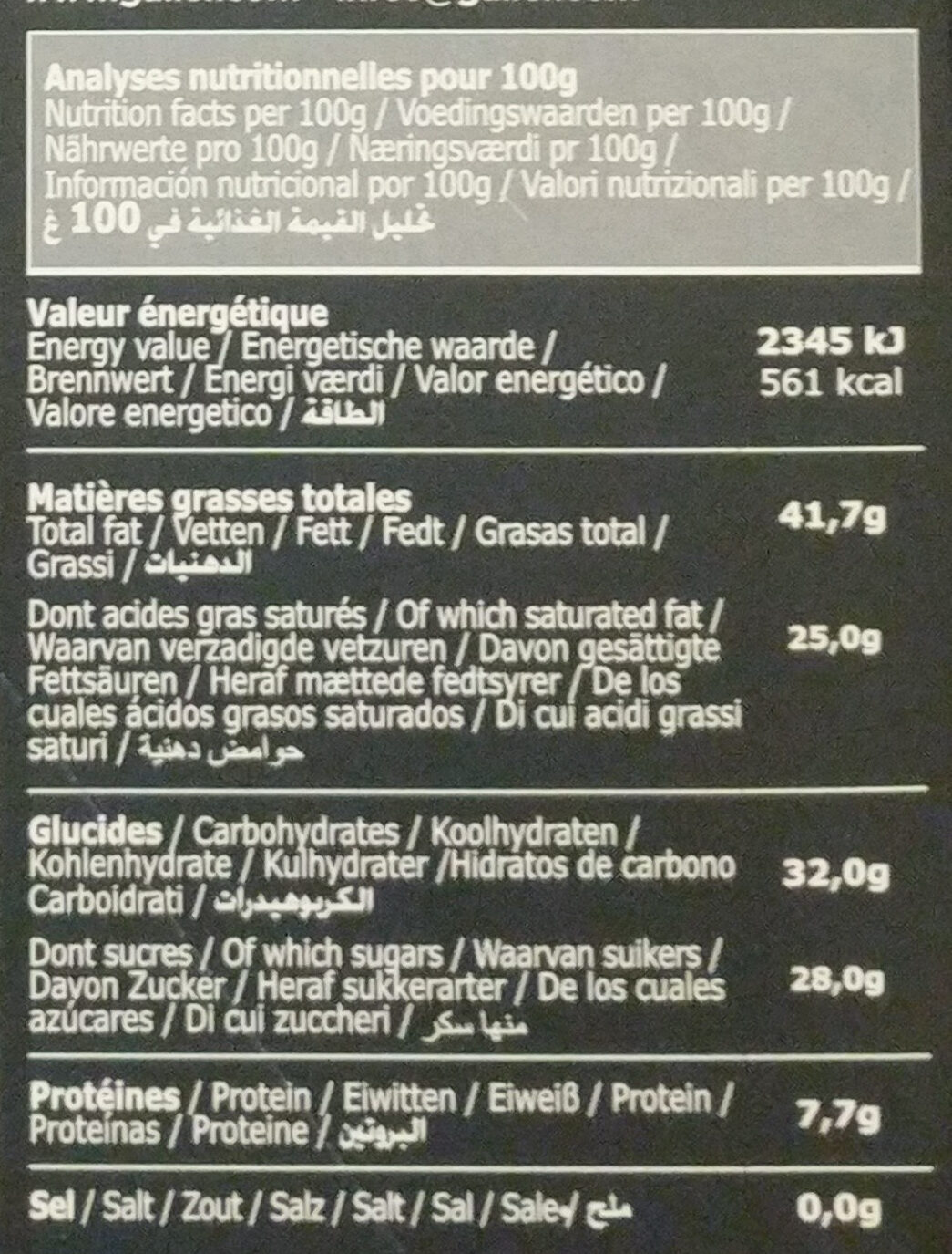Tablette Galler Noire Intense 70% - Informations nutritionnelles - fr