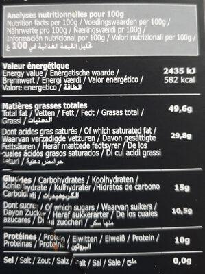 Tablette Galler Noir 85% Profond - Informations nutritionnelles - fr