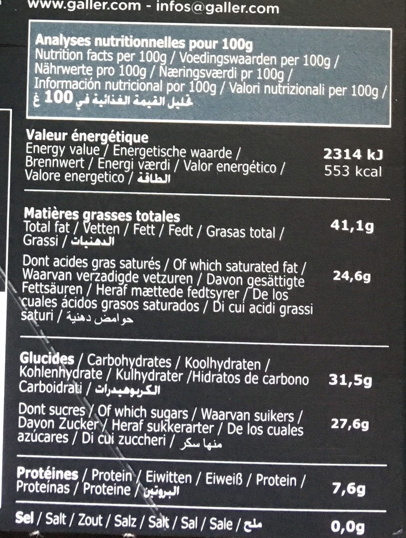 Tablette Galler Noir 70% Orange - Informations nutritionnelles - fr