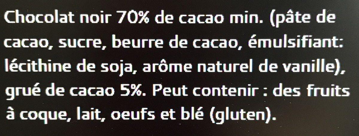 Tablette Galler Noir 70% Eclats de cacao - Ingrédients - fr