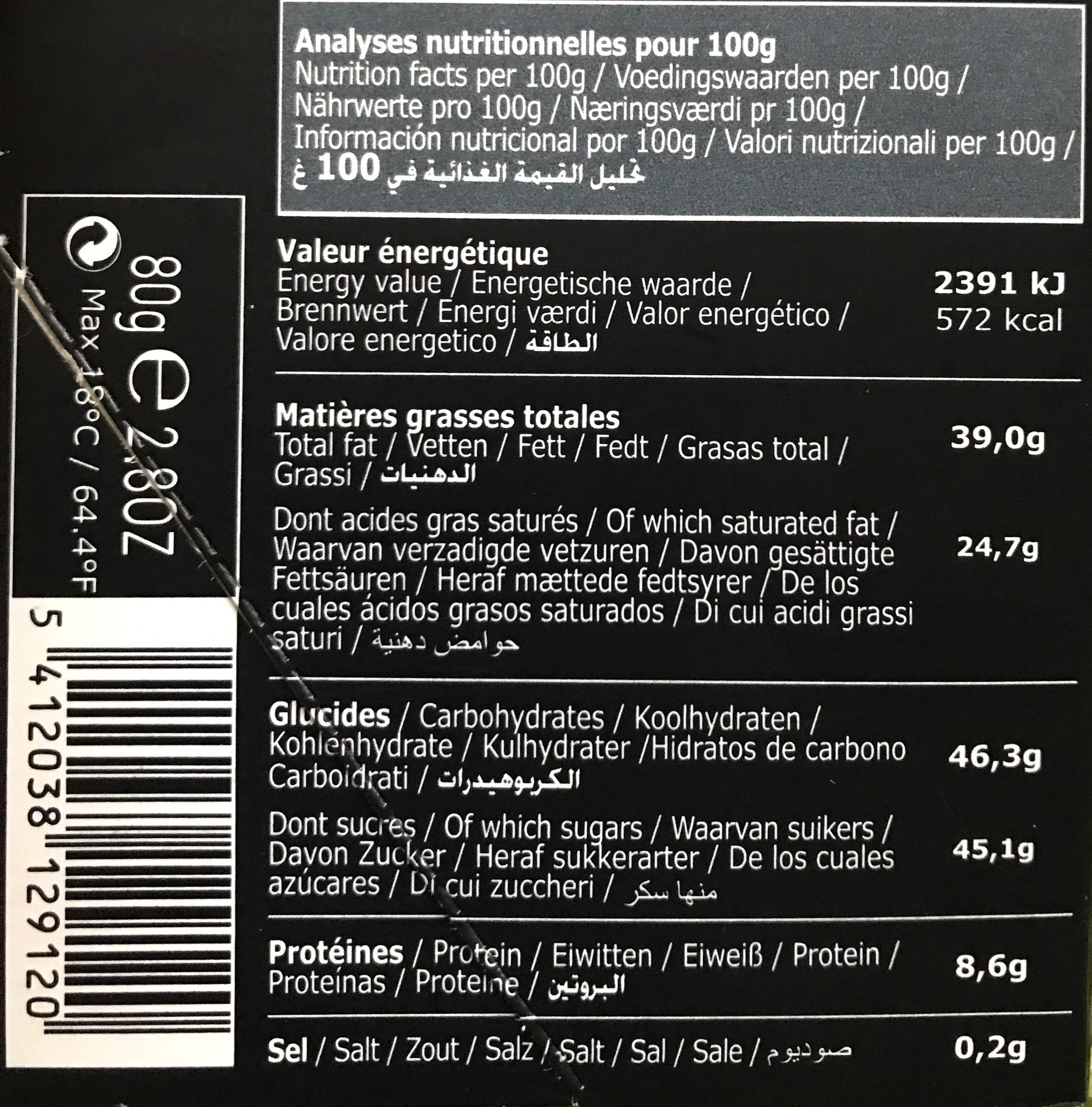 Tablettes Lait Profond 80G - Ingredients