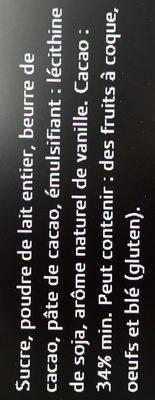 Tablette Galler Lait profond - Ingredientes