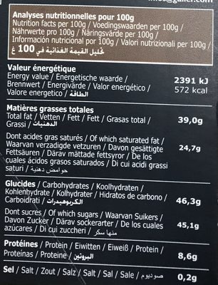 Tablettes Lait Profond 80G - Nutrition facts