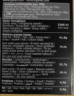 Chocolat Noir Menthe - Citron vert - Voedingswaarden