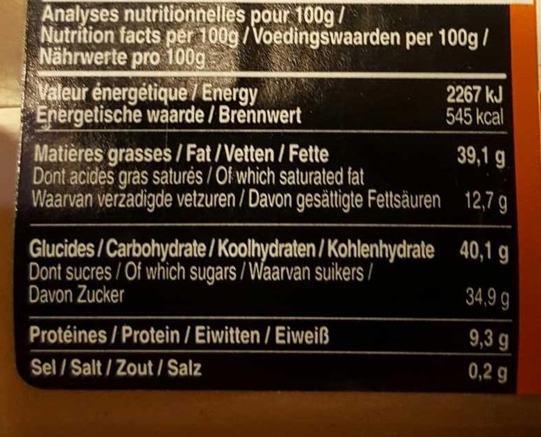 Pâte à tartiner Noisette - Voedingswaarden - fr