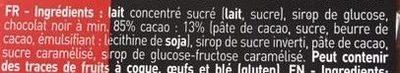 Pâte à Tartiner Chocolat Noir 85 - Ingredients - fr