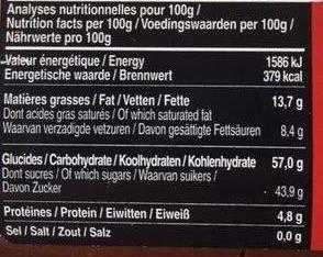 Pâte à Tartiner Chocolat Noir 85 - Nutrition facts - fr