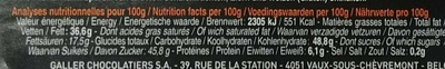 Bâton Galler Praliné-Blanc - Nutrition facts - fr