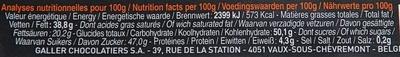 Bâton Galler Noix de coco-Blanc - Informations nutritionnelles - fr