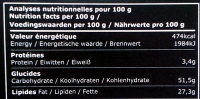 Bâton Galler Café Liégeois-Noir - Informations nutritionnelles