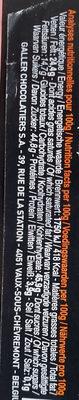 Bâton Galler Framboise-Noir - Nutrition facts - fr