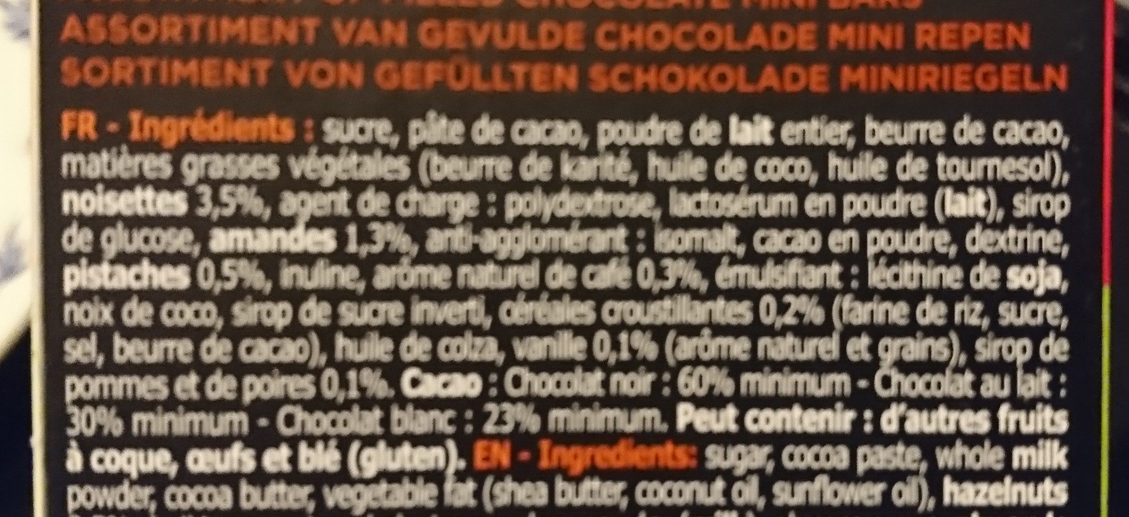 Assortiment de mini bâtons au chocolat fourrés - Ingrediënten - fr