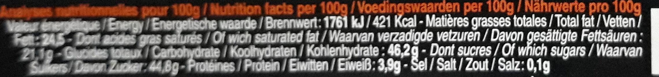 Bâton Galler Orange-Noir - Voedingswaarden - fr