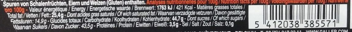 Bâton Galler Mangue Passion-Noir - Nutrition facts - fr