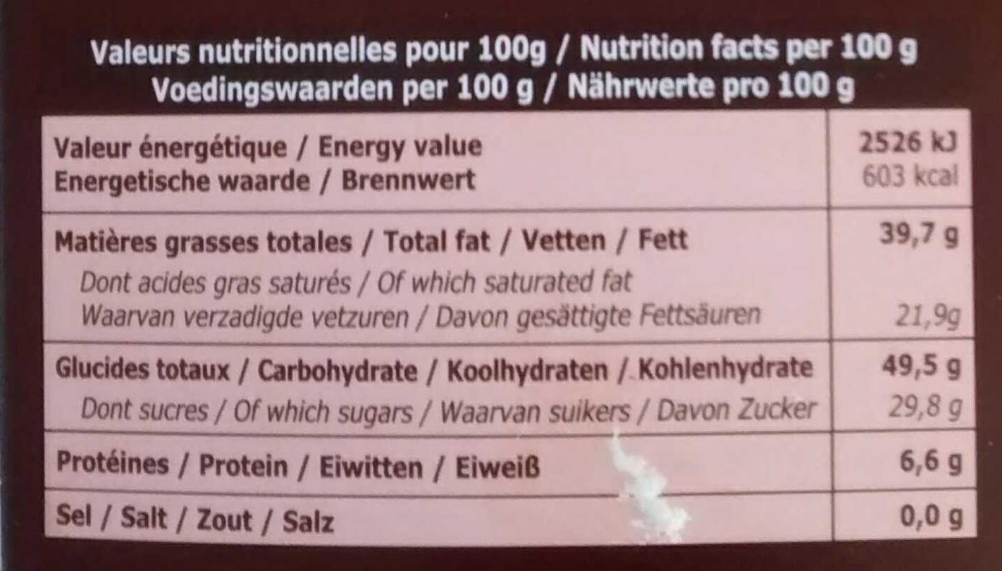 noir croustillant - Informations nutritionnelles - fr