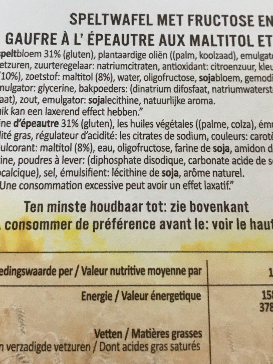 Ceval speltwafels - Ingrediënten - fr
